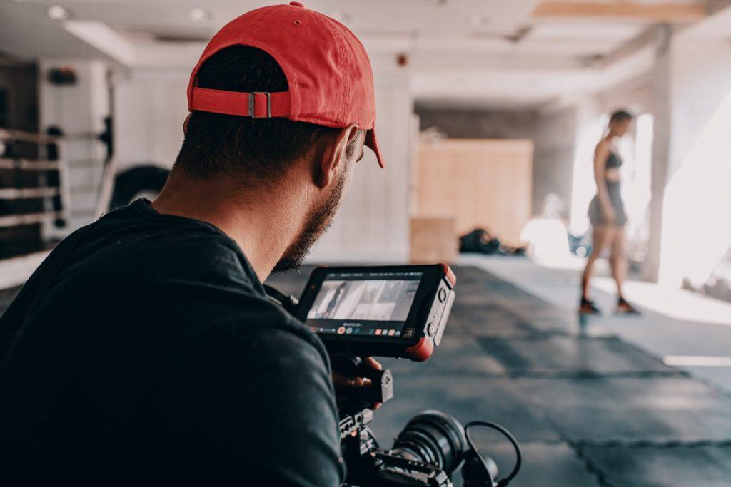 Filming on yoga mats
