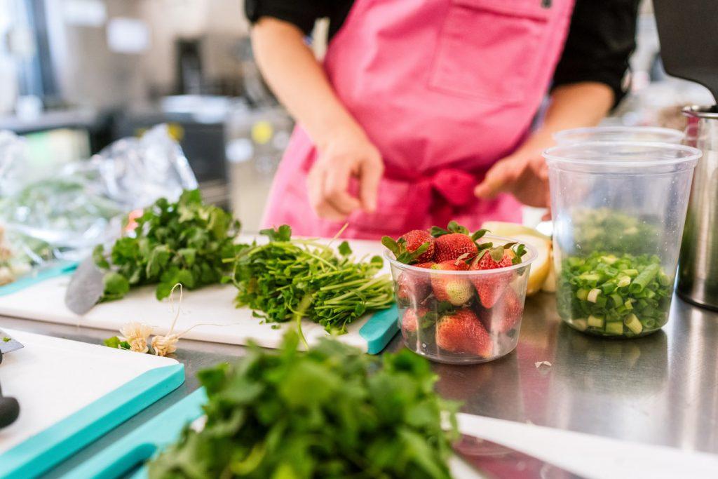Preparing fruit and veg