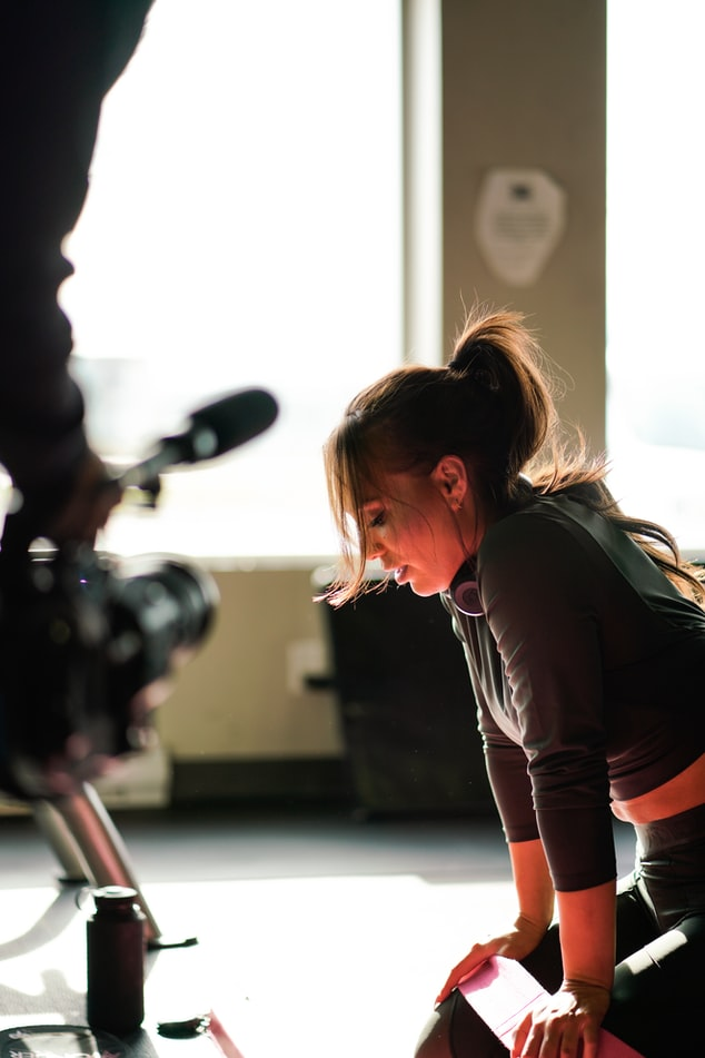 Filming a fitness class